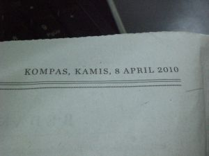 Kompas cetak edisi 8 April 2010