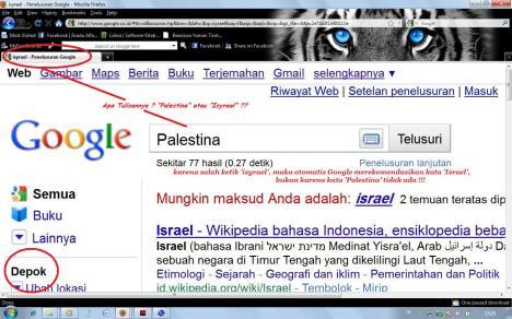 Kebohongan Pernyataan Bahwa Palestina Tidak Ada Dalam Google (Perbesar gambar dengan mengklik pada gambar)