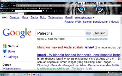 Hasil Print Screen Menyatakan Palestina Tidak Ada di Google