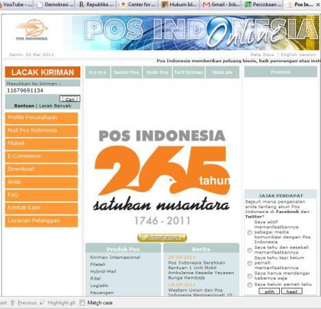 Hasil Print Screen Website Kantor Pos
