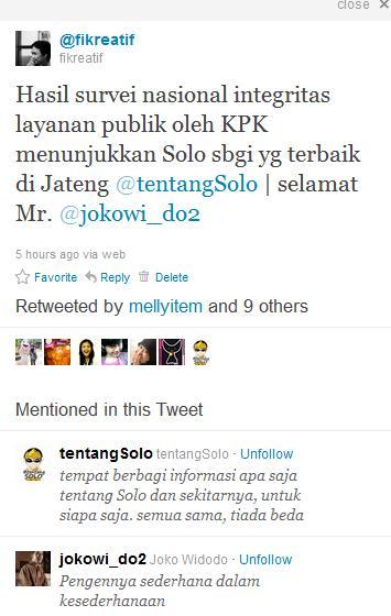 Nulis Twit Solo Kota Terbaik Versi KPK, Banyak Yang Retwit & RT