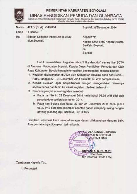 Instruksi Dikpora Kabupaten Boyolali tentang mendatangi acara INBOX
