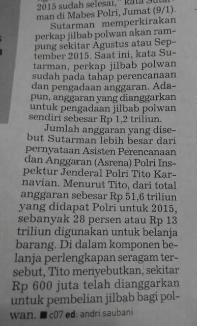 Anggaran Jilbab Polri Mencapai Rp600 juta (kutipan kliping dari Republika, 19/01/2015)
