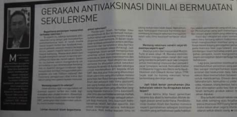 Gerakan Antivaksinasi Bermuatan Sekulerisme? (Kliping koran Republika, 19/01/2015)