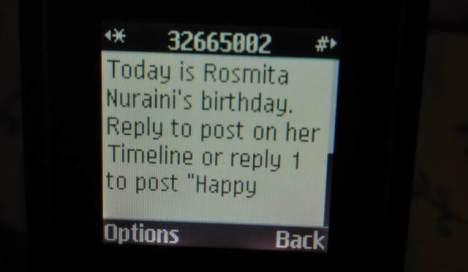 Notification Ultah Rosmita Nuraini