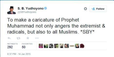 Statemen SBY tentang Karikatur Charlie Hebdo Penghina Nabi Muhammad