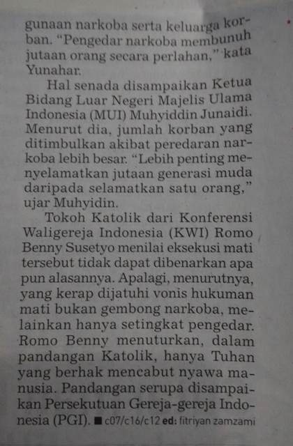 Ulama Pro Hukuman Mati Terpidana Narkoba, Gereka Kontra (Foto: kutipan kliping koran Republika, 19/01/2015)