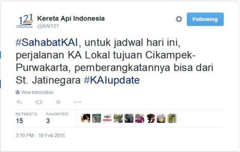 Rilis resmi KAI di Twitter yang menyesatkan