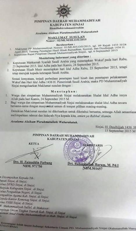 Muhammadiyah Sinjai Lebaran Kamis